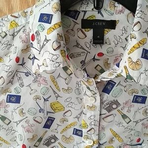 J. Crew popover button down Novelty French print
